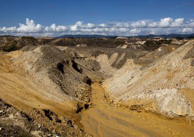 Gold mining.