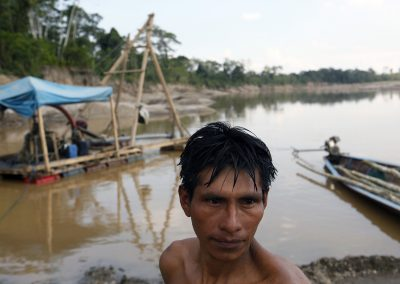 Illegal gold miners on the Madre Dios river.